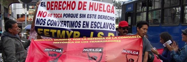 """""""¡La Huelga se respeta, la Huelga no se toca!"""" fue el cántico de los trabajadores en Quito ante la ONU"""