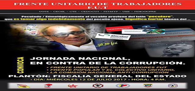Plantón este miércoles 12 de julio en la Fiscalía  contra la corrupción